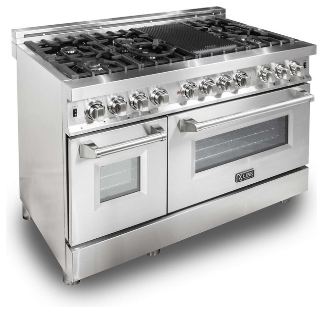 Gas Burner/Electric Oven Range, Stainless Steel, 48""