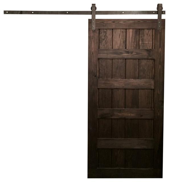 5 panel design sliding barn door rustic gray 34 x84 for Farmhouse sliding door