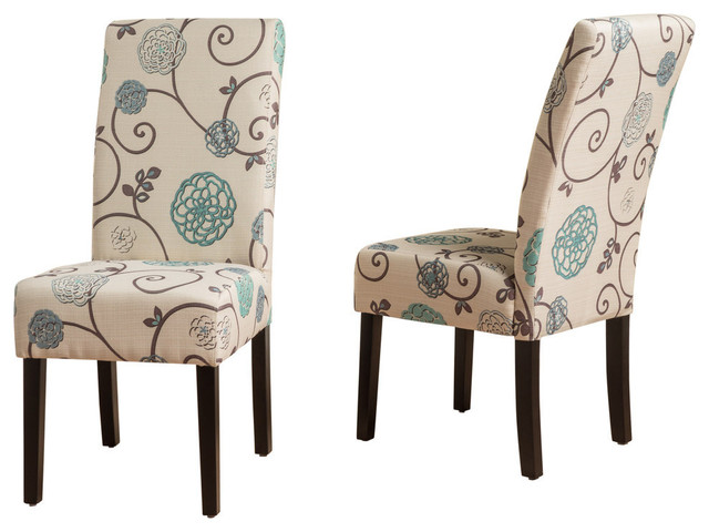 GDF Studio Percival White and Blue Floral Fabric Dining Chairs, Set of 2