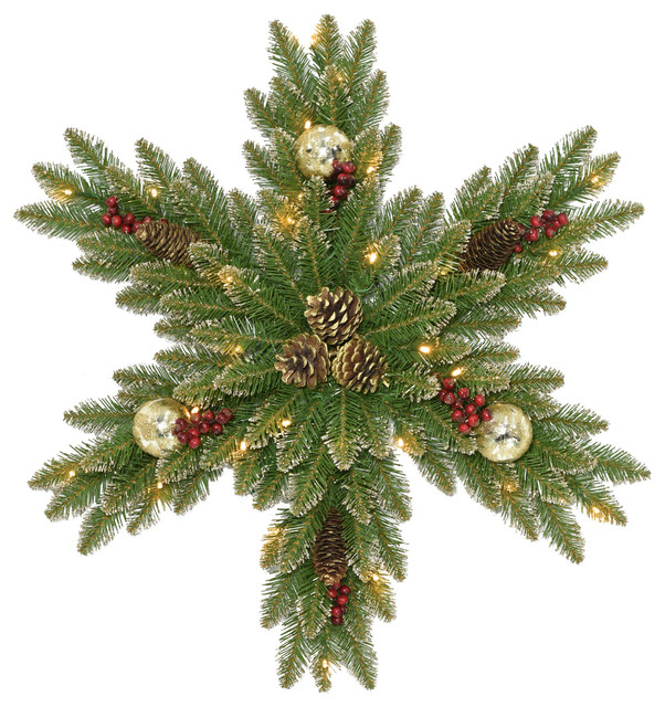 Glittery Gold Dunhill Fir Snowflake With Battery Operated LED Lights, 32""