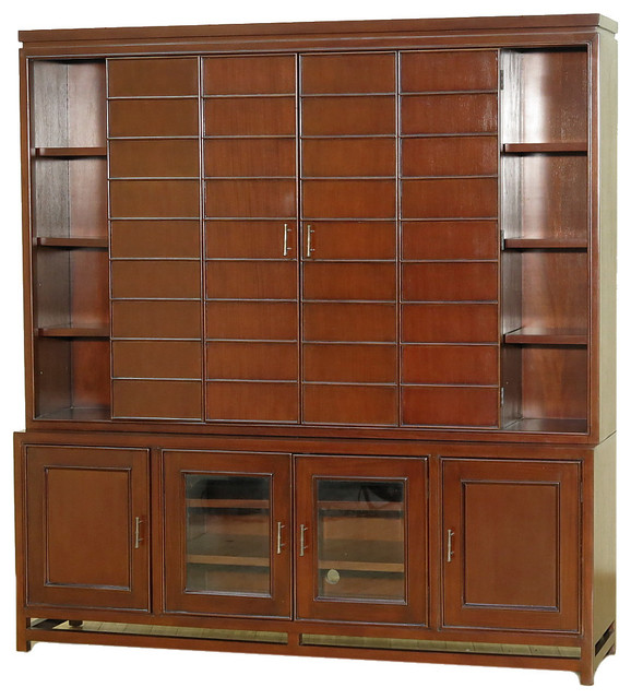 6.5' Solid Mahogany TV Media Entertainment Cabinet WIth Folding Doors - Traditional ...