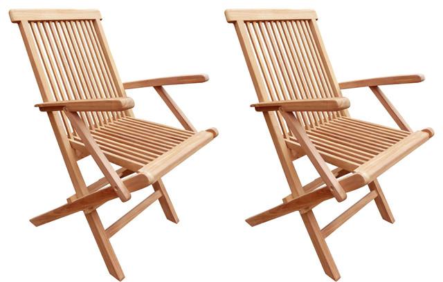 Seven Seas Teak Folding Outdoor Patio Arm Chair, Set of 2