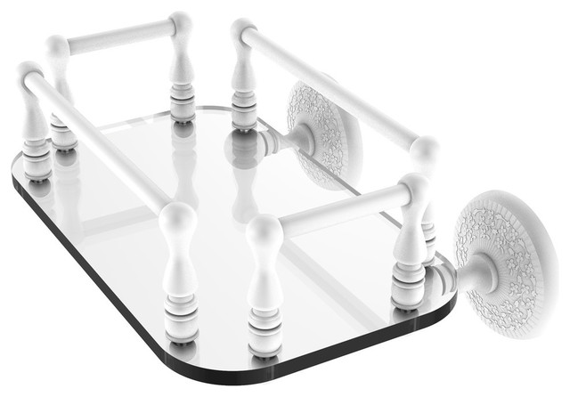 Monte Carlo Collection Wall Mounted Glass Guest Towel Tray, Matte White.