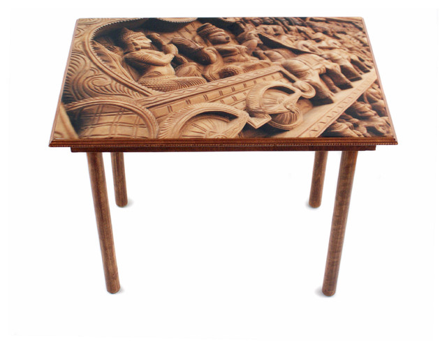 Side Wall Table wood carving table/wall art - traditional - side tables and end