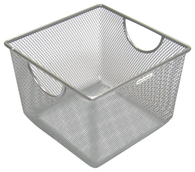 Design Ideas Small Silver Storage Bin.