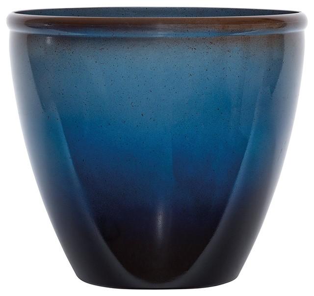 Resin Planter, Blue/brown.
