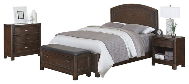 Crescent Hill Queen Bed Nightstand Upholstered Bench And Chest Transitional Bedroom