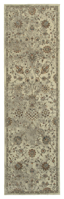 "Parham Antiqued Traditions Beige And Gray Area Rug, 2&x27;3""x7&x27;6""."
