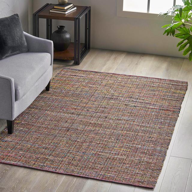 Hemp and Fabric Area Rug, 5'x8