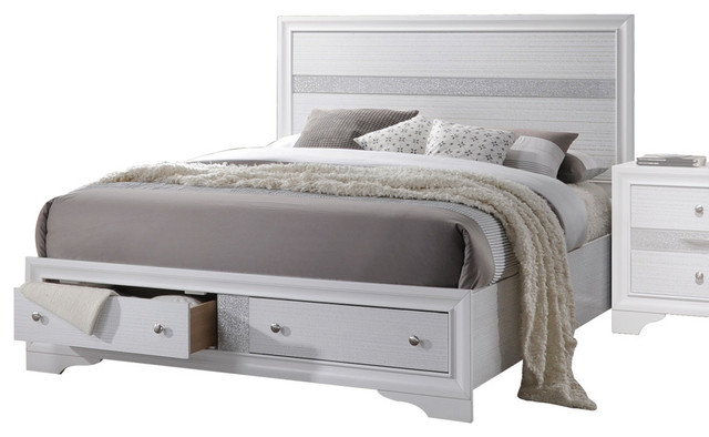 Naima Bed With Storage, White, Queen.
