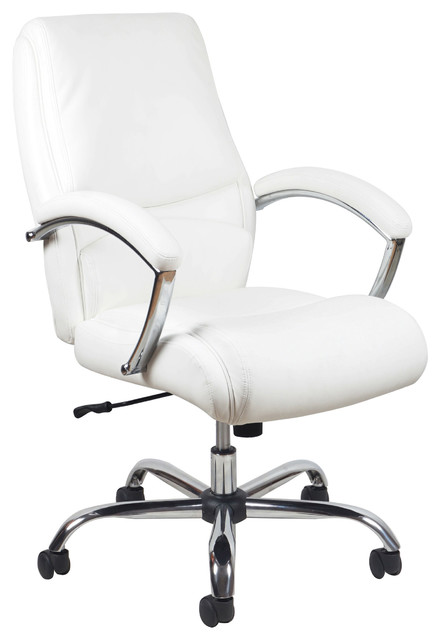 Essentials By Ofm Ergonomic High-Back Leather Chair With Arms, White And Chrome.