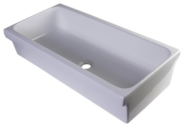 Ab36tr 36 White Above Mount Porcelain Bath Trough Sink.