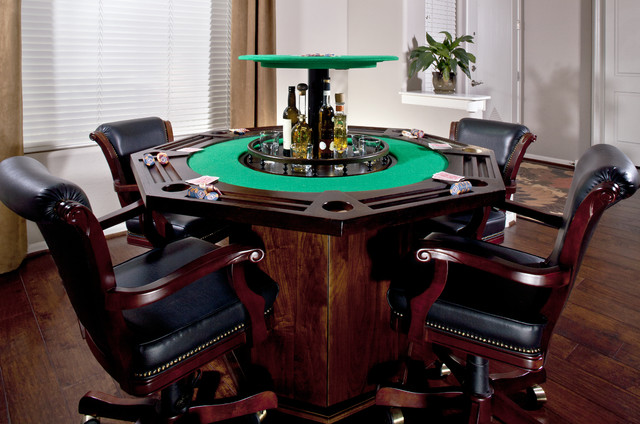 Custom Poker Table With Hidden Bar Traditional