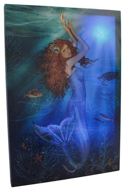 Lighted Wall Decor led lighted magic mermaid canvas wall print - eclectic - wall