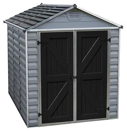 Palram Skylight Storage Shed, Gray, 6&x27;x8&x27;.