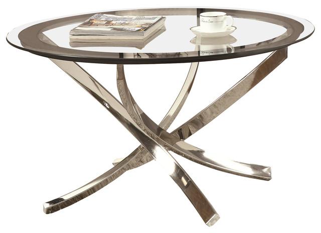 Coaster Coffee Table, Black/chrome.