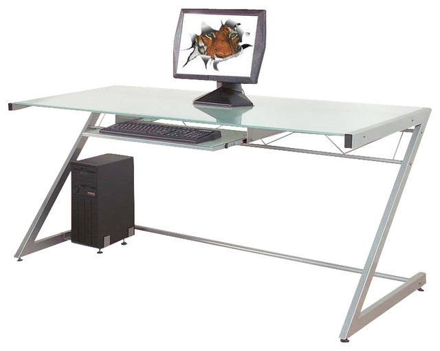 Z Deluxe Desk Aluminum Frosted Gl Large Contemporary Desks And
