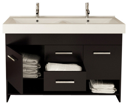 Rigel Double Bathroom Vanity Set With Sink 48 Contemporary Bathroo