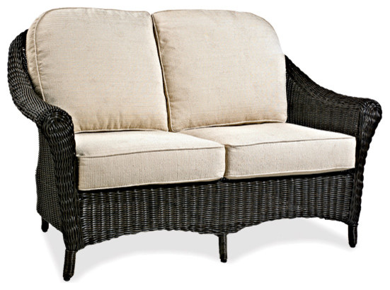 Marvelous Cottage Wicker Outdoor Loveseat With Bright Green Cushion