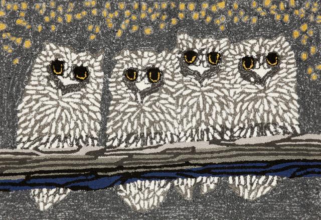 """Owls Doormat, Gray, 24""""x36"""""""