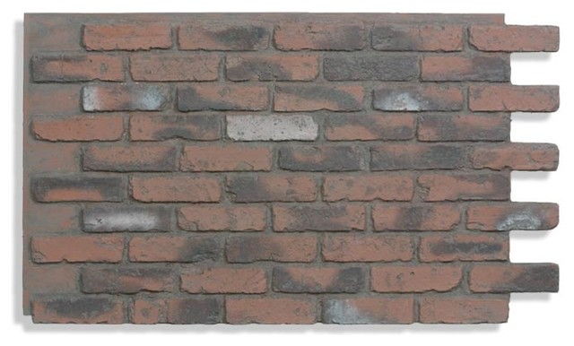 "28""x48"" Brick Wall Paneling, Chicago Red Brick Dark Grout."