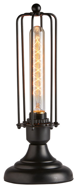 Edison Style Wire Caged Industrial Table Lamp.