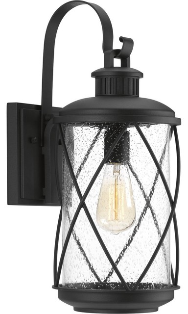 Hollingsworth One Light Outdoor Wall Lantern Black Clear Seeded Glass.