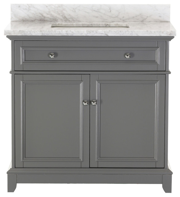 "Kennon Gray Bathroom Vanity With Marble Top, 36""."
