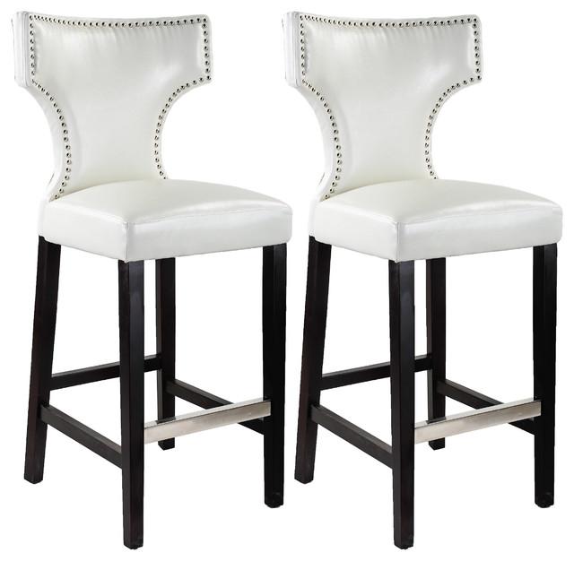 Dilhorne Barstools With Nailhead Trim White Set Of 2
