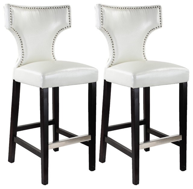 Kings Bar Stools Set of 2 White With Metal Studs transitional bar
