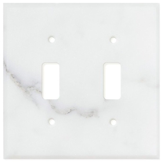 Calacatta Florence Marble Switch Plate Cover 2 Toggle
