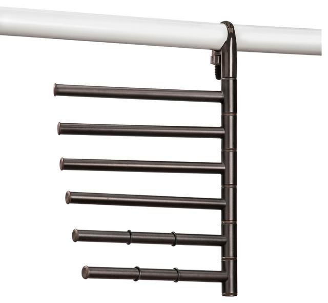 Lynk Hanging Pivoting Scarf & Accessory Holder-Closet Hanger Organizer, Bronze.
