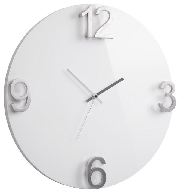 elapse wall clock high gloss white