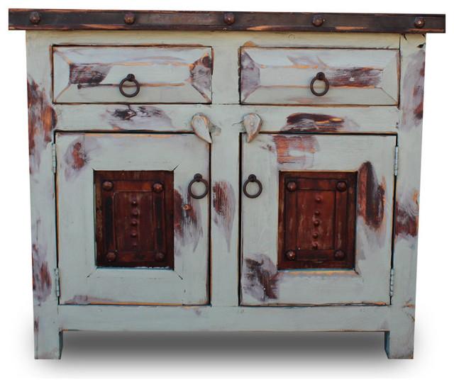 "Vanity With Oxidized Metal Doors, 24""x20""x32""."
