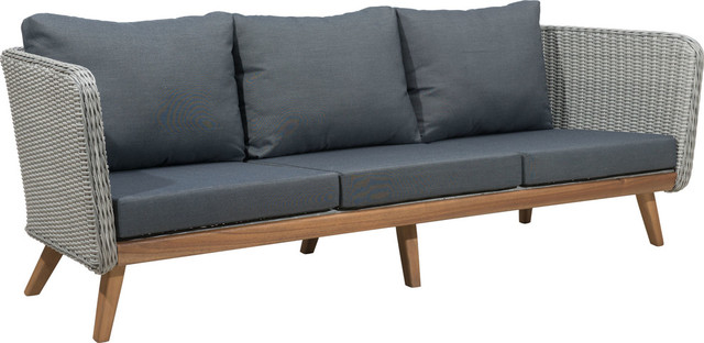 Zuo Modern Grace Bay Sofa, Natural And Gray Midcentury Outdoor Sofas