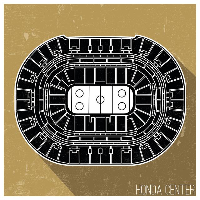 Anaheim Ducks Nhl Seating Map Matte Poster 24x24