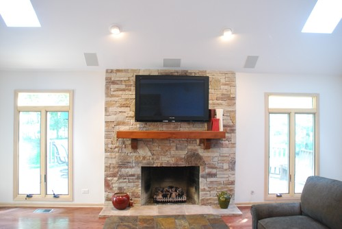 Before & After Fireplace From Drywall to Stone Fireplace