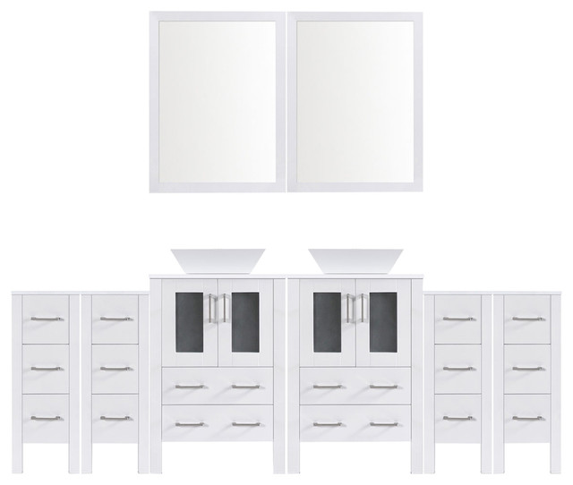"Modern Bathroom Vanity Set With Mirror And Sink, White, 108""."