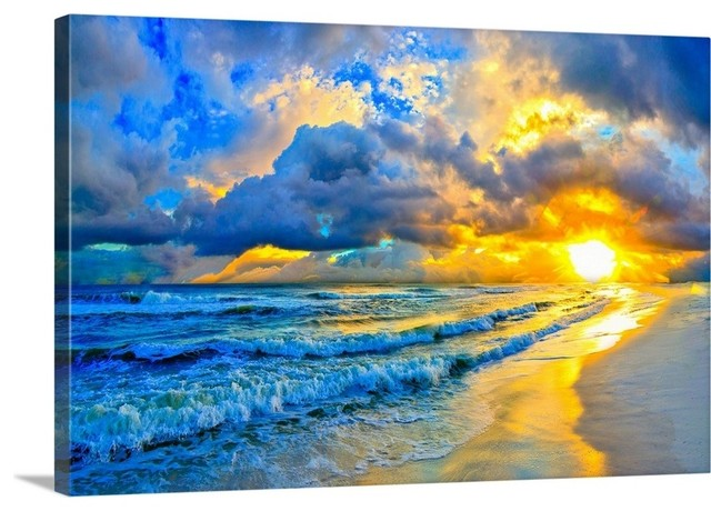 Hand Painted Gallery Wrapped Canvas Beach Ocean Sunrise Sunset Feel in Aqua Blue Purple Pink and Sand Abstract Painting 11 x 14