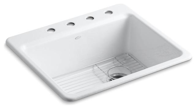 Kohler Riverby Top-Mount 1-Bowl Kitchen Sink With Bottom Sink Rack, White.