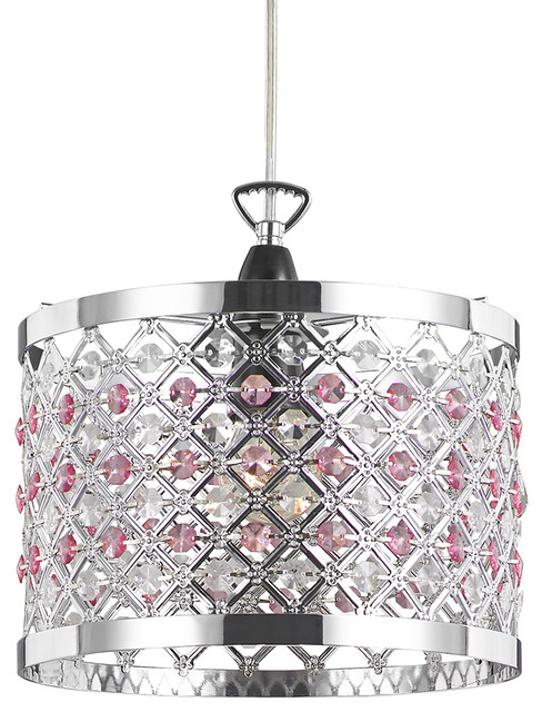 Modern Sparkly Ceiling Pendant Light Shade with Clear and Pink Beads