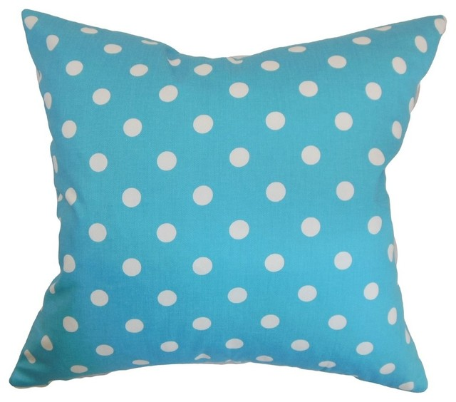 Nancy Polka Dots Pillow Girly Blue Twill Contemporary Decorative Pillows By The Pillow