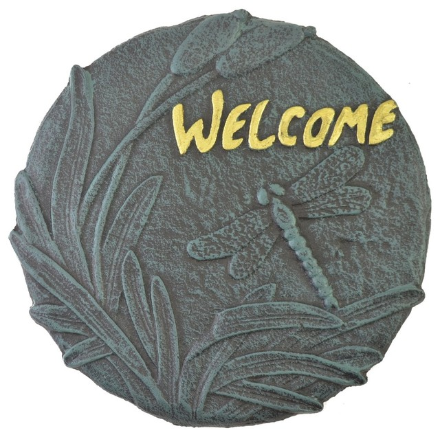 decorative cast iron yard and garden stepping stone welcome dragonfly rustic landscaping - Decorative Stepping Stones
