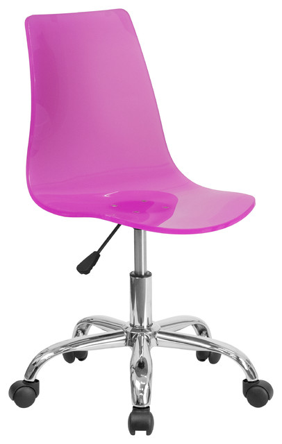 Booker Acrylic Task Chair With Chrome Base Contemporary Office