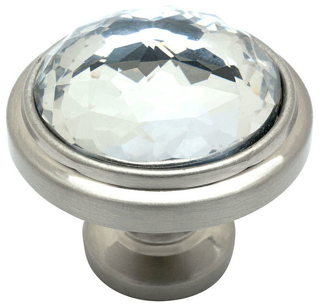 Glass Round Cabinet Knob, Satin Nickel and Clear - Traditional ...
