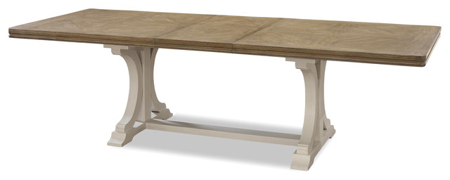 French Modern Light Wood Trestle Extension Dining Table