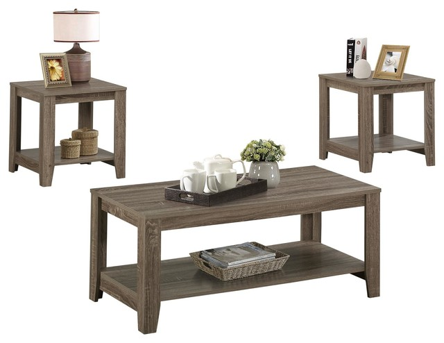Coffee and End Table Set 3Piece Set Dark Taupe Transitional