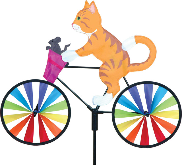 20 Inch Kitty Bicycle Spinner Eclectic Garden Statues And Yard
