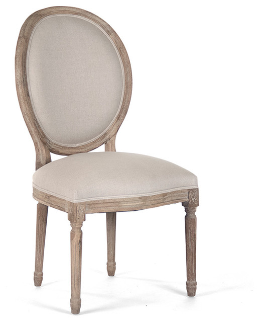 Elegant Pair Madeleine French Country Oval Linen Limed Oak Dining Side Chair