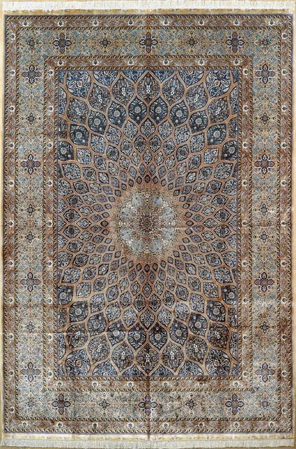 10'x14' Turkish Silk Rug Handmade Persian Silk Carpet - Traditional - Area Rugs - by Yilong Silk Rug Warehouse USA Inc.